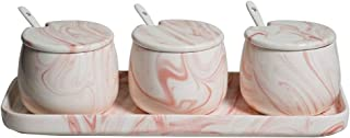 Pink White Ceramic Sugar Bowls Condiment Pots Spice Jars Seasoning Box Set with Lid Spoon and Tray-Sets of 3