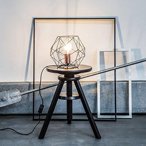 Lampada da tavolo retrò in traliccio di rame dal look vintage, H 185 cm, Ø 22 cm, 1x E27 max. 60W, metallo, nero/rame