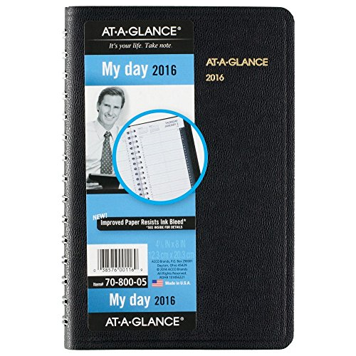 AT-A-GLANCE Daily Appointment Book / Planner 2016, 12 Months, 4.88 x 8 Inch Page Size, Black (7080005)