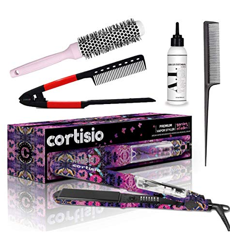 "Cortisio Vapor Hair Straightener Flat Iron for Hair 1.25"" Ceramic Professional Steamer - Dual Voltage Straightening Irons - Planchas De Cabello"