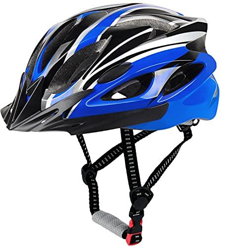 LUCKATCH Erwachsene Fahrradhelm, Mountainbike Helm, Rennradhelme mit Abnehmbarem Visier und Polsterung, Leichter Fahrradhelm mit Kinnschutz Für Männer Damen (56-60cm) (Schwarz und Blau)