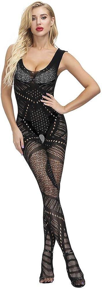 Haozin Sexy Naughty Lingerie for Women Fishnet Babydoll Bodysuit Underwear Solid Translucent Net Yarn Lace Sleepwear
