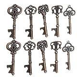 Awtlife, 50 Schlüssel-Flaschenöffner im Vintage-Stil mit Grußtasche für Hochzeitsgeschenke, 5 verschiedene Stile - 5