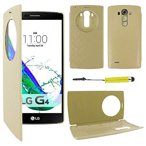 ebestStar - Coque Compatible avec LG G4 H815, G4 Dual-LTE Etui Housse Portefeuille Livre avec Fenêtre Flip View Cover + Mini Stylet, Or/Doré [Appareil: 149 x 76.2 x 9.8mm, 5.5'']