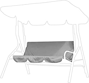 Swing Cushion Cover, Multiple Colour Swing Waterproof Cushion Replacement 3Seat Chair Seat Cover for Outdoor Swing(Gray)