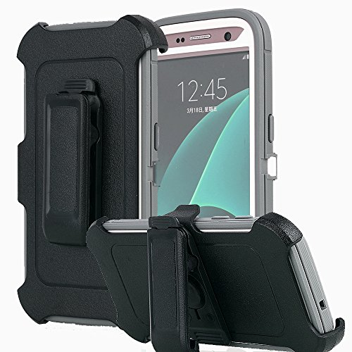Galaxy S7 Case, AICase [Heavy Duty] [Full Body] Tough 4 in 1 Rugged Shockproof Cover with Belt Clip Armor Protective Cover for Samsung Galaxy S7 (2016) (Grey)