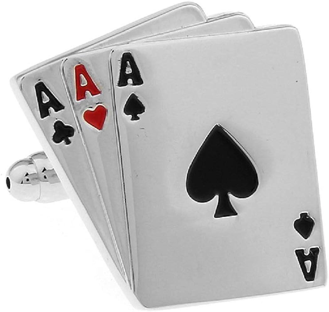 MRCUFF 3 Aces Ace Playing Cards Poker Gambling Casino Pair Cufflinks in Presentation Gift Box & Polishing Cloth
