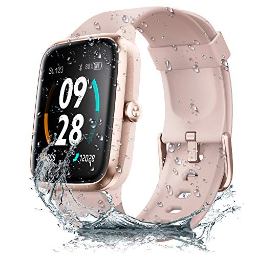 JONVOH Smart Watch Fitness Tracker SYNCLIFE DAZZLE - Compatible with Apple iPhone iOS Android Samsung - Smart Watch for Men and Women - Built-in GPS - Heart Rate Monitor - Touch Screen - Pink