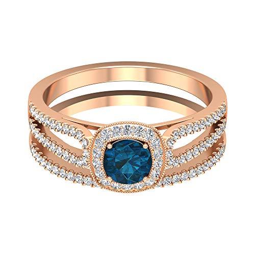 Piedra de nacimiento de diciembre — 5,00 mm solitario Londres topacio azul con acento de diamante HI-SI, anillo de compromiso de vástago dividido, 14K Oro rosa, Size:EU 70