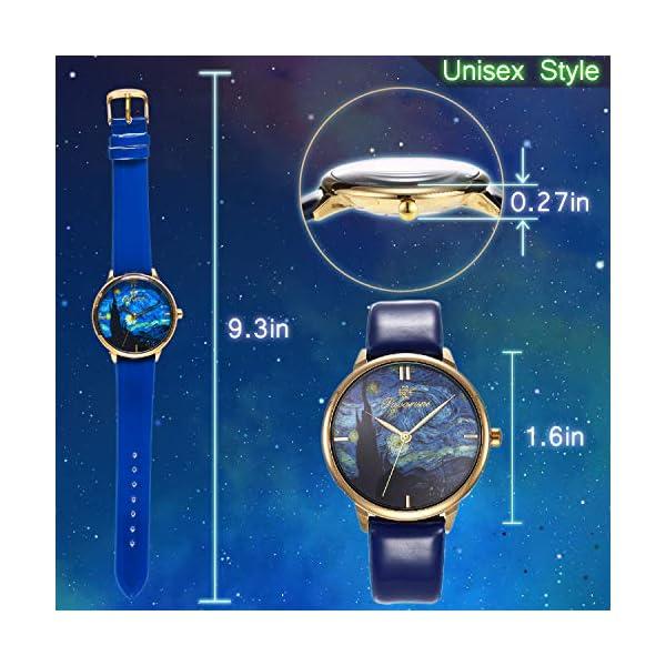 Pavaruni Van Gogh Starry Night Art Wrist Watch Gift,Simple Design Artwork Minimalism Collection Birthday