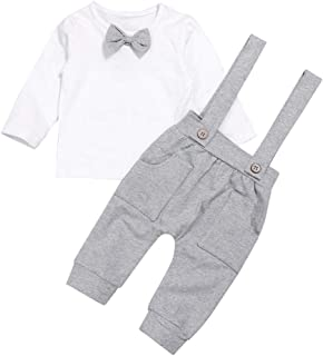 Todder Baby Boy Clothes Gentleman Outfits Long Sleeve T-Shirt with Bow Tie and Pocket Suspenders Pants Formal Set (0-6Months) White