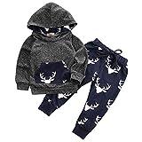 Syliababy Unisex Baby Strampler Kleidung Neugeboren Hoodie + Hosen Hirsch Outfits für 0-18 Monat Kleinkinder