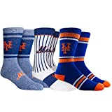 PKWY Unisex 3-Pack Mets Crew Socks (Large (Men's 6-12/Women's 8-12), Mets Dugout)