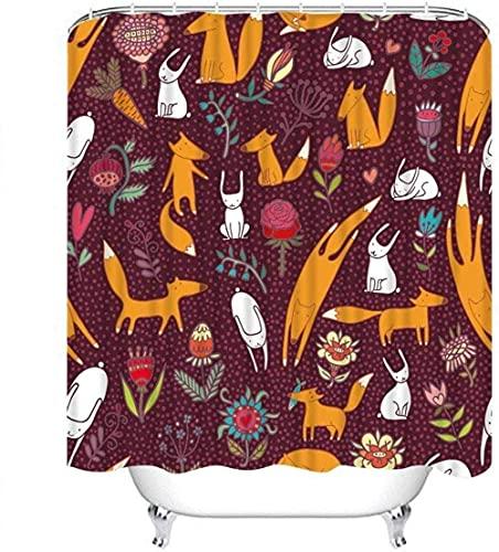Duschvorhang setzt Fuchs Füchse Hasen Blumen Vinous Muster Gefallene Blätter Gelb Polyester Stoff Dekor