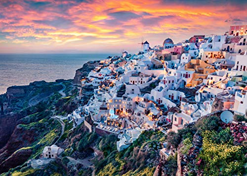 Jigsaw Puzzle 1000 Piece Puzzle - Mediterranean Marvel Puzzle Series 02 Santorini Greece Premium Quality Puzzles for Adults 1000 Piece Finished Size is 28.9 inches x 20.1 inches