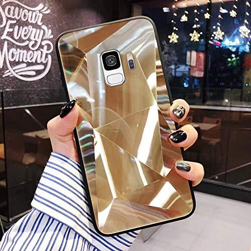 Uposao Kompatibel mit Samsung Galaxy S9 Hülle Spiegel Schutzhülle Bling Glänzend Glitzer Kristall Strass TPU Silikon Handyhülle Weiche Silikon Rückseite Glitzer Hülle Case Tasche,Gold