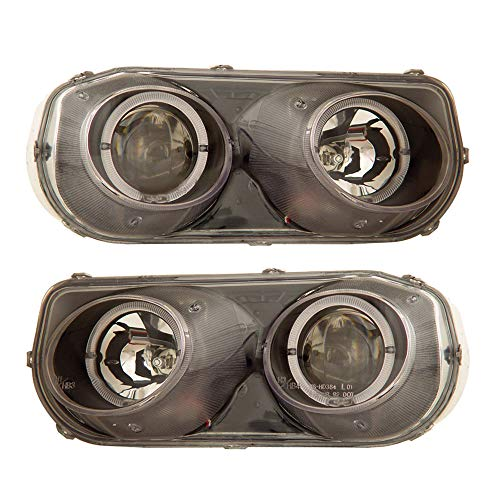 SPPC Projector Headlights Black Assembly Set Halo For Acura Integra - (Pair) Driver Left and Passenger Right Side Replacement Headlamp