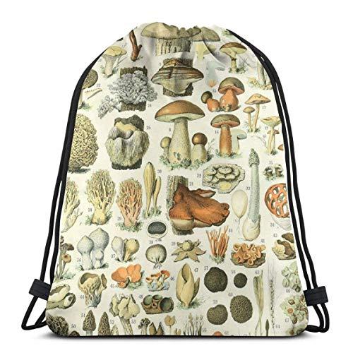 OPLKJ Gym Drawstring Bags, beliebte Pilztasche Rucksack Sackpack für Studenten Gym Sack Bag für Gym Schwimmen Uniform Aufbewahrungstasche