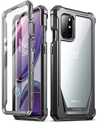 Poetic Guardian Series Schutzhülle für OnePlus 8T, Hybrid-Hybrid-Stoßfänger, robust, transparent, mit integriertem Bildschirmschutz, schwarz/transparent