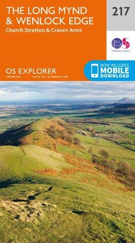 OS Explorer Map 217 The Long Mynd & Wenlock Edge: Church Stretton & Craven Arms (OS Explorer)