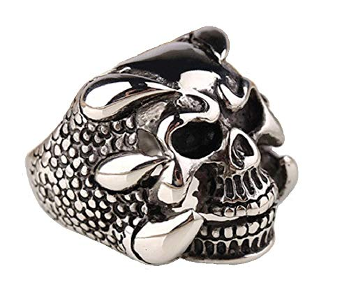 Anillo de plata envejecida, diseño de calavera de motociclista, estilo gótico, punk, para hombre y