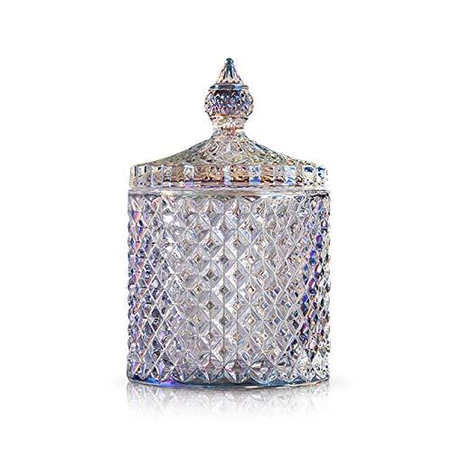 Mousyee Godisburk, glas godisburk färgglad kristallglas söta läckerheter serveringsburk kexbehållare liten dekorativ kakburk med lock hållbar tom förvaring behållare för fest bröllop