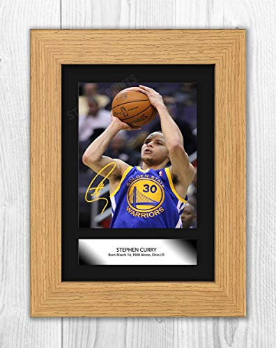 Póster de Stephen Curry (3) de la NBA Golden Sate Warriors (marco de roble)