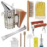 11-teiliges Imker-Werkzeug-Set für Imker, Bienenstock-Räucher, Bienenbürste, Bienenzuchthandschuhe, Bienenkäfig, Bienenstock-Rahmengreifer