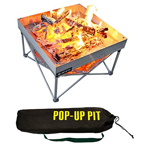 Pop-Up Fire Pit | Portable and Lightweight | Fullsize 24 Inch | Weight 8 lbs. | Never Rust Fire Pit...