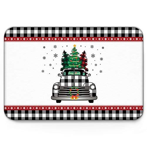 Infinidesign Christmas FrontDoormatNonSlipRubberBacking,EasyCleanLow-ProfileIndoorDoormats18x30inch,SpongeDoorMatsforEntry, Black White Lattice Truck with Garland and Snowflakes