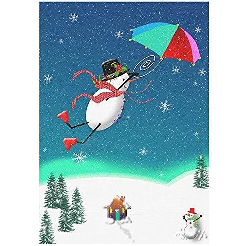 Huis Decoratieve Vlaggen, Seizoensgebonden Tuin Vlag Banner, Home Yard Decor Vlag,Grappige Sneeuwman Vliegende Paraplu,Winter Kerstboom Unieke Leuke Outdoor Vlaggen
