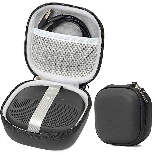 Matte Black Protective Case for Bose SoundLink Micro Bluetooth Speaker, Best Color and Shape Matching, Featured Secure and Easy Pulling Out Strap Design, Mesh Pocket for Cable and accessorie