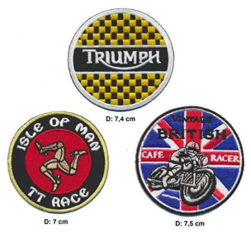 Racing Classics Parche para Coser o Planchar Cafe Racer Triumph, 3 Unidades, para Motocicleta, Moto, Bobber, Inglaterra, Reino Unido