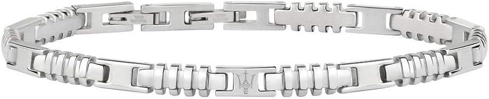 Maserati collezione jewels bracciale da uomo in acciaio, con chiusura a pressione 8033288839903