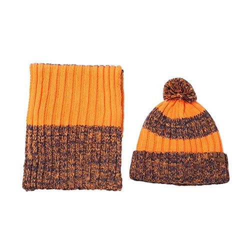 DaoRier Mützen + Schal 2er Set Strickschal Wollschal Haarball Hut Nackenwärmer Winter Schals Wintermütze,Orange