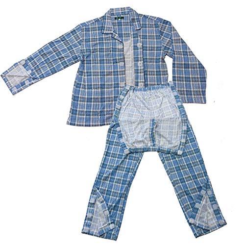 yuaseiharu 介護パジャマ メンズ 上着前 袖口ウエストマジックテープで更にズボン裾口もマジックテープで開く通年 寝たきり 要介護 (M)