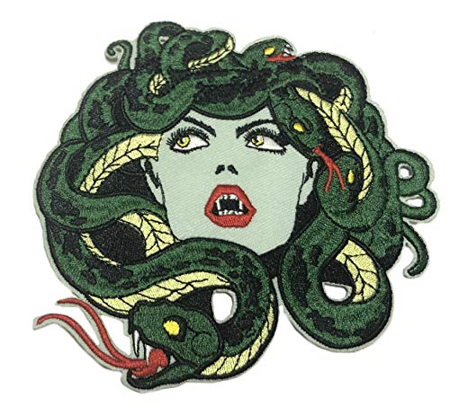 Medusa Snakes Mythology 5' Embroidered Patch DIY Iron or Sew-on Decorative Vacation Travel Souvenir Applique