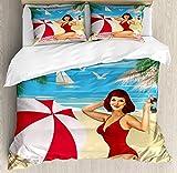 ABAKUHAUS Pin Up Girl Funda Nórdica, Trajes De Baño Rojo, 2 Fundas para Almohada Set Decorativo de 3 Piezas, 264 X 220 cm, Multicolor