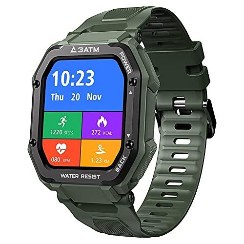 TAIJU Reloj inteligente para teléfonos Android e iOS, reloj resistente para hombres, deportes al aire libre, impermeable, monitor de presión arterial, reloj inteligente (color verde)