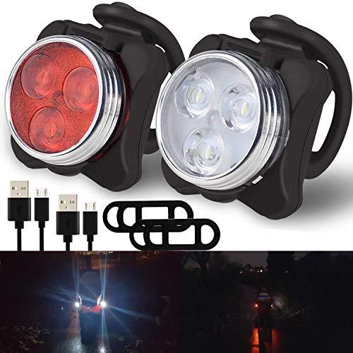 Grunda 2er Set regenfest USB Kinderwagenlicht mit 4 LED Leuchtfunktionen, hell 1 weiße & 1 rote Lampe, Flexible Silikon Klemmleuchte für mehr Sicherheit, Sehen und gesehen werden mit dem Kinderwagen