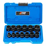 EWK 13 Pcs Rounded Bolt Extractor Stripped Lug Nut Remover Metric Bolt & Nut Extractor Socket Set