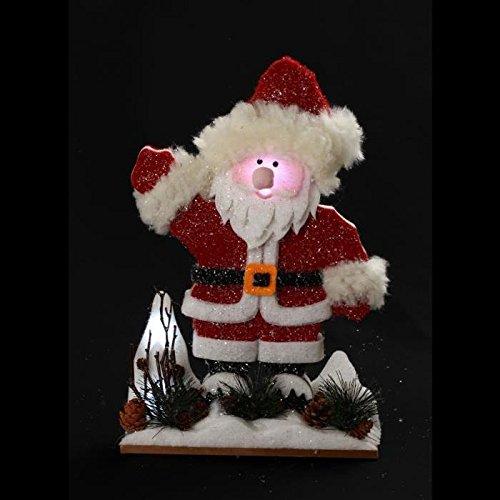 AUTOUR DE MINUIT 5DMA201 Père Noël Lumineux LED à Piles, Coton, Rouge, 26 x 8 x 40 cm