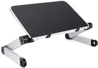 HHGO Portable Adjustable Laptop Desk  Aluminum Laptop Desk Table Tray Notebook Lap Folding Desk Table  Color Black