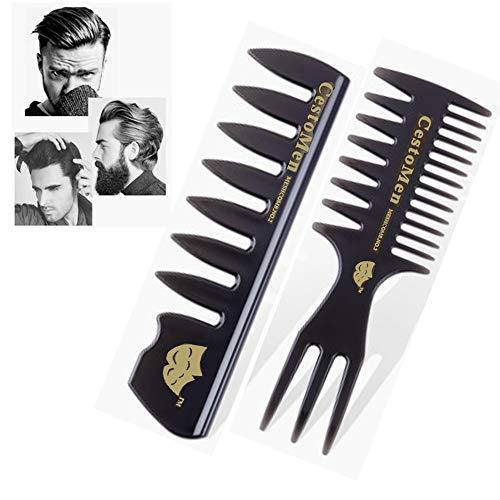 Herren Styling Comb, Afro Haarkämme Männer Haarpflegeset, Detangler Haarbürste Professionelle Shaping & Wet Pick Friseur Bürstenwerkzeuge, Antistatische Haarbürste für lange, lockige, dicke Haare