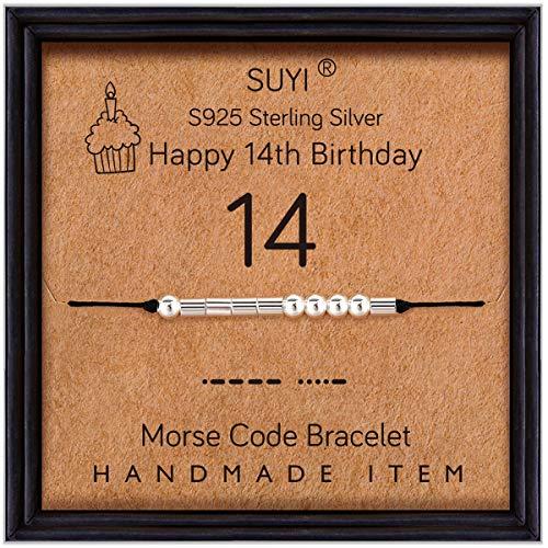 Suyi Cadeaux d'anniversaire pour Les Filles Morse Code Bracelet en Argent Sterling Bracelet Anniversaire Bbijoux 14 Ans Cadeaux pour Elle 14