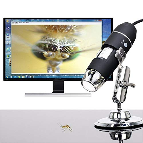 Wireless Digital Microscope , 50X to 1000X Magnification USB Microscope Endoscope Camera with 8 LEDs and Microscope Stand,Compatible for Android,for Window XP, etc for Kids, Students, Adults (Black)