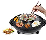 Electric 2 in 1 Grill with Separate Divider Shabu Shabu Dual Flavor Hot Pot. Multifunctional Indoor Teppanyaki Korean BBQ Capacity for 2-10 People