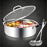 Hot Pot with Divider Stainless Steel Shabu Shabu Pot for Induction Cooktop Gas Stove 12.6'' Suitable for 4-5 Person (12.6 inch)