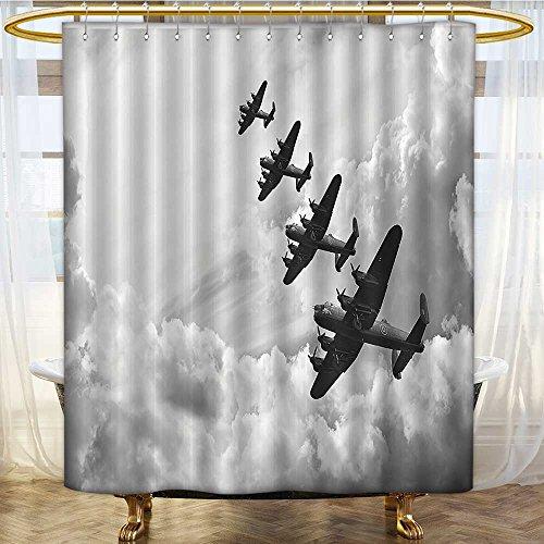 SCOCICI1588 Cortina de Ducha Retro de Lancaster Bomber Jets de la Batalla Royal Air Force Imprimir Cortinas de Baño de 182 x 213 cm