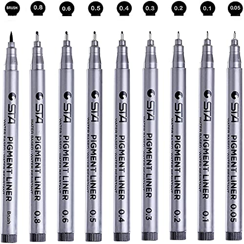Precision Micro-Line Pens, Fineliner, Multiliner, Waterproof Archival ink, Artist Illustration, Anime, Sketching, Technical Drawing, Office Documents,Scrapbooking, Manga Pens Writing, 9/Set(Black)